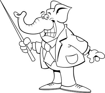 Cartoon of a white elephant holding a pointer